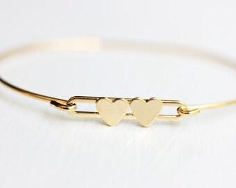 Heart Bracelet Gold, Double Heart Bracelet, Hook Bracelet, Vintage Heart Bracelet, Gold Heart Bracelet, Gold Cuff Bracelet, Gold Cuff
