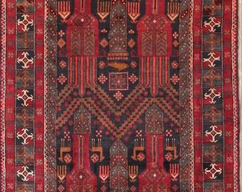 "Geometric Balouch Hand Made Persian Rug Runner 10 Ft Long For Hallways (9' 9"" x 4' 0"")"