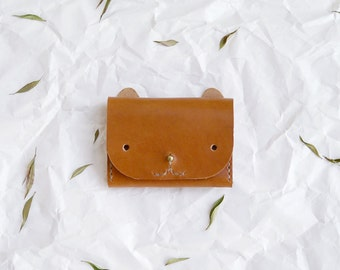 SECONDS SALE - Cat Wallet - leather simple cardholder in caramel brown
