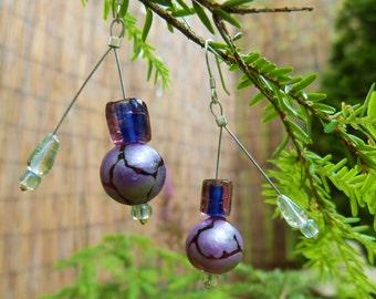 Purple Bouncy Satellite Earrings