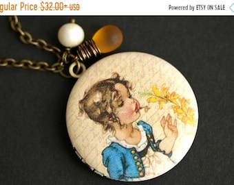 MOTHERS DAY SALE Flower Girl Locket Necklace. Vintage Girl Necklace with Amber Teardrop and White Pearl Charm. Blue and Yellow Photo Locket.