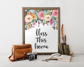 Bless This Home print, Printable wall art decor, printable art, home decor, watercolor print, calligraphy typographic print, digital BD-047