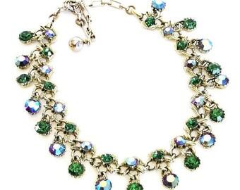 Schrager Green Shimmering Aurora Borealis Necklace