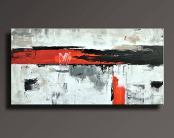 "48"" ORIGINAL ABSTRACT Painting Black White Gray Red Painting on Canvas Contemporary Abstract Modern Art Wall Decor #AB58i1"