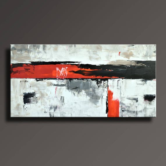 48 original abstract painting black white gray red