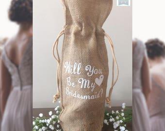 Will You Be My Bridesmaid, Burlap wine bag, Bridesmaids gift idea, Bridesmaid gift, Wedding Party Gifts, Bridesmaids Gift, Custom gifts