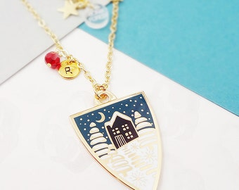 Winter Personalised Birthstone Pendant Necklace - Gold
