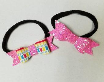 Easter Peep Pink Glitter Bow Baby Headband