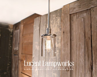 Downrod Lighting with Clear Cylinder Glass - 4 Inch