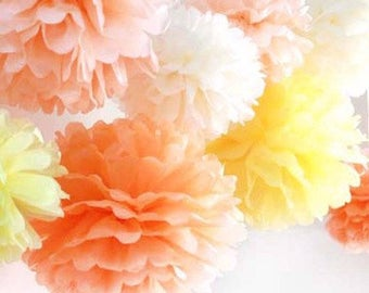 20pcs Fruit Tissue Paper Pom Pom - Hanging Decoration Wedding Baby Shower Party Engagement Girl's Birthday Bridal Shower Nursery Decorations