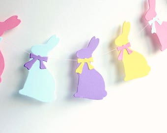 Easter garland, Pastel Bunny easter banner, spring decor, Easter bunny decoration, easter photo prop, pink, blue, purple, yellow garland