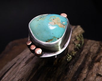 Cripple Creek Turquoise Ring- Bright Blue Colorado Turquoise- Sterling Silver and Copper