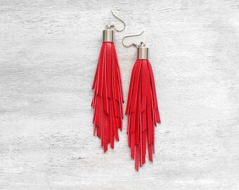 Red Leather Tassel Earrings