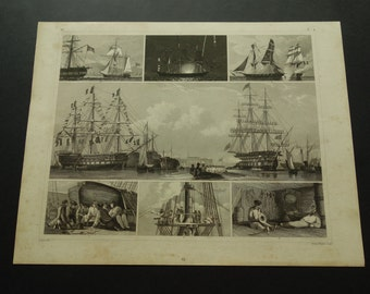 1849 SHIPS old print of tall ships - antique maritime poster pictures about vintage naval parade sail sailing wall decor