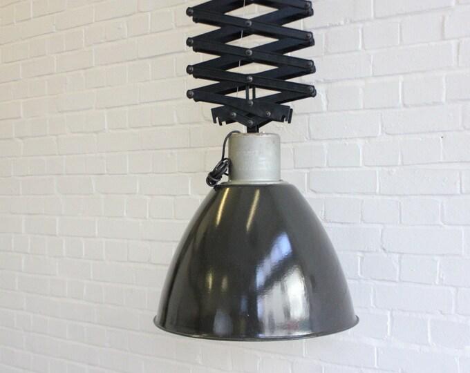 Large Vintage Industrial Czech Scissor Mechanism Down Lighters 15 Available
