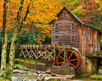 Rural Architecture, Grist Mill Photography, Glade Creek Mill, Autumn Splendor, Wall Art, Orange And Red, Wall Decor, Fine Art Photo