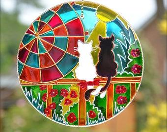 Sunshine Cat Hanging Sun Catcher, Cute Cat Lover Gift, Painted Glass Roundel, Garden Art Ornament, Cat Couple Window & Garden Suncatcher