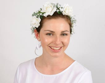 White Floral Wedding Flower Crown Bridal Head Wreath Brides Headband Leaf Headpiece Romantic Bohemian Hair Piece Flowercrown