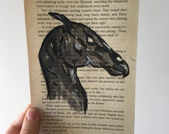 Thestral hand painted watercolour inspired Harry Potter book page.