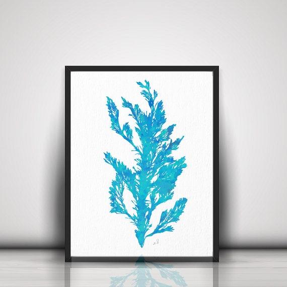 ... Turquoise Seaweed Print Turquoise Wall Art Bathroom Art Bathroom Decor  Turquoise Wall Art Bathroom Print Art
