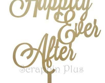 Wooden Happily Ever After Cake Topper - wedding cake topper