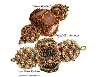 Tutorial Peyote Stitch Pendant, pdf,  Beading  patterns , Peyote stitch pendant pattern,jewelery Tutorial, Carrie Pendant