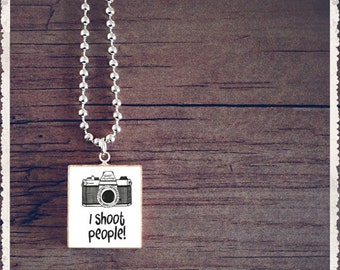 Scrabble Tile Jewelry - I Shoot People For A Living White - Scrabble Pendant Charm Necklace