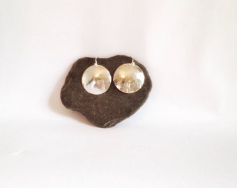Large Silver Disk Earrings