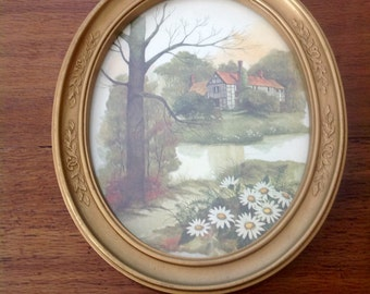 Vintage Oval Picture, English Countryside, Excellent Condition