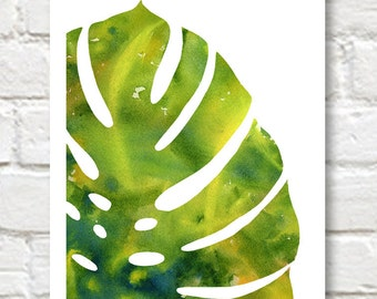 Tropicl Leaf - Art Print - Abstract Watercolor Painting - Wall Decor