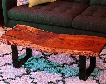 Live edge coffee table - Acacia - Slab table - Steel legs