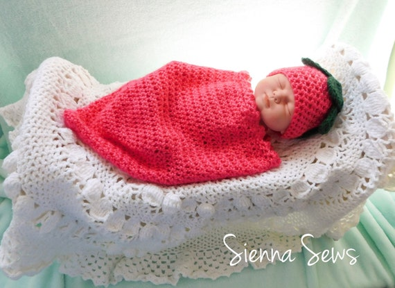 Strawberry Baby Cocoon And Hat Crochet Pattern Crochet