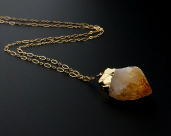Citrine Necklace / Citrine Crystal / Raw Citrine Necklace / November Birthstone / Gemstone Necklace / Gift for Mom