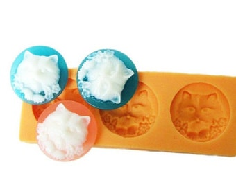3-Cavity Cat Polymer Clay Mold Flexible Silicone Mould For Handmade Soap Candle Candy Cake Fimo Resin Crafts