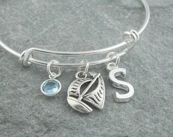 Sailboat bracelet, sailing boat, boat charm bracelet, initial bracelet, swarovski birthstone, personalized jewelry, nautical jewelry, bangle