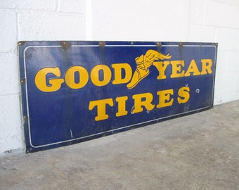 Anitque Porcelain GOODYEAR Long Sign Automotive Man Cave Garage Shop