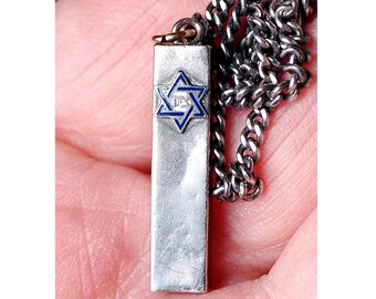 Vintage Sterling Silver Mezuzah Pendant on Endless Chain - Enameled Star of David - Mid Century Jewish Necklace