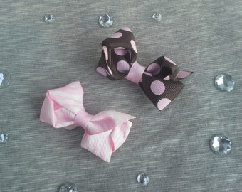 Girls Animal Print Hair Clips - Set of 2 - Pink Zebra & Brown Polka Dot