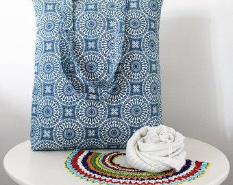 Borsa tessuto maiolica, Tote bag, Handbag, borsa misto cotone, Shopping bag, blue and white bag, summer bag, the perfect bag for your summer