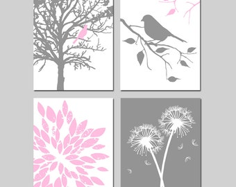 Pink Gray Grey Girl Nursery Art - Bird in a Tree, Bird on a Branch, Abstract Floral, Dandelions - Set Four 11x14 Prints - CHOOSE YOUR COLORS