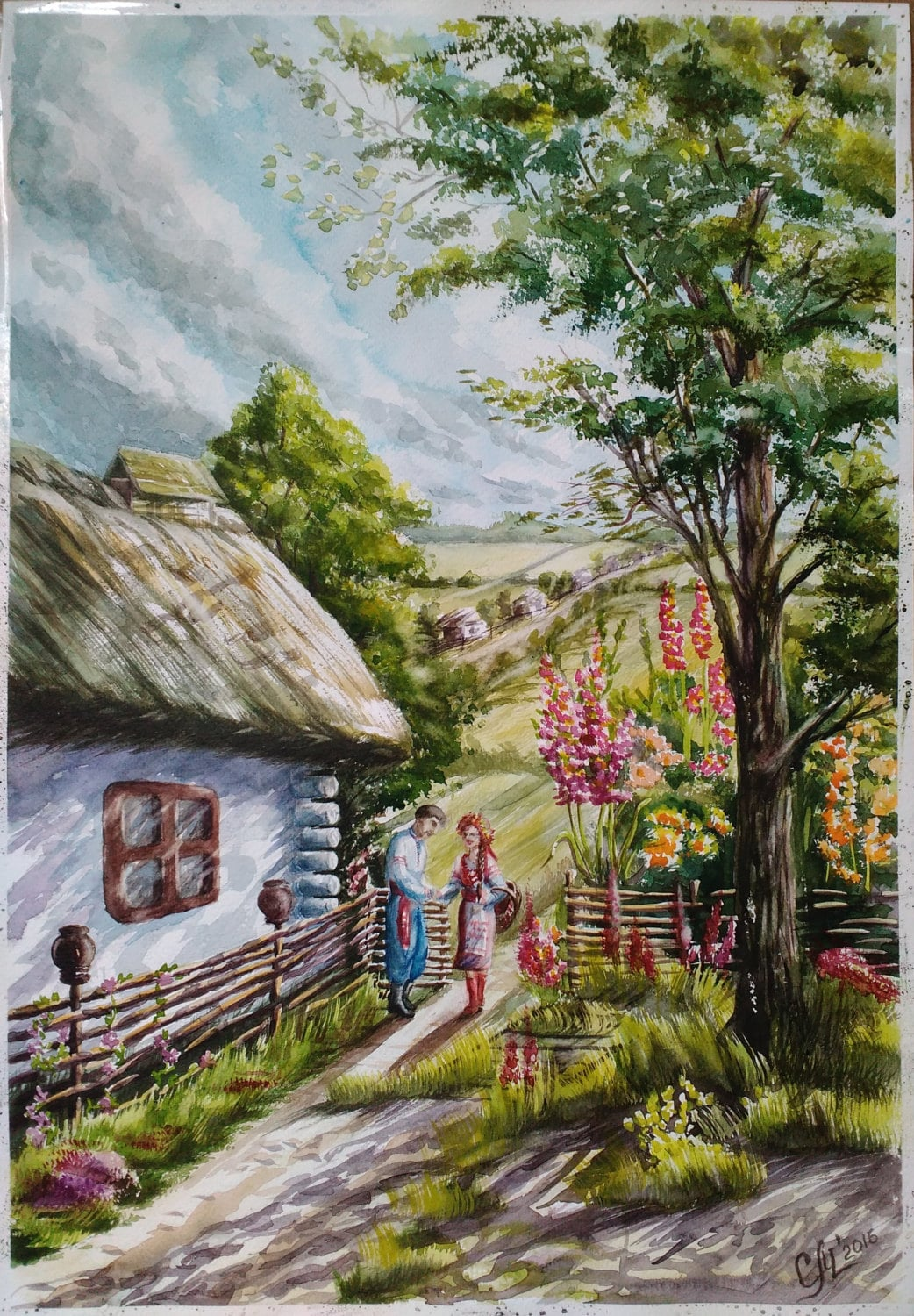 Countryside Watercolor Landscape Painting Typical Ukrainian