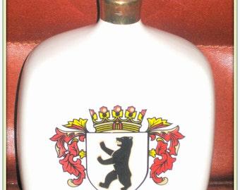 Old bottle Berlin porcelain bottle Crown Crest Shield Souvenie oficial Vintage rare rare traditional porcelain bottle