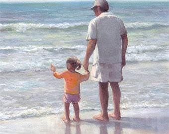 Father and Daughter Art Print - Beach Nautical Nursery  - Ocean Waves Nature