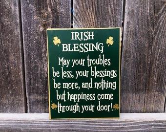 Irish Blessing-St. Patrick's day wood sign, Irish Blessing sign