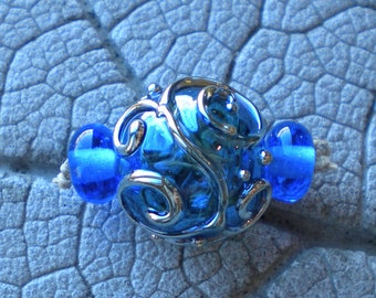 Blue Silver Glass Scroll Hollow  Lampwork Beads by Cherie Sra R114 Flameworked Hollow Focal Beads Scroll Lampwork Bead Hollow Lampwork Bead