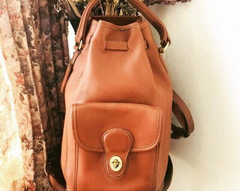 Vintage Coach Britis Tan Top Handle Drawstring Bucket Backpack // Coach Leather Backback Made In USA # 9992