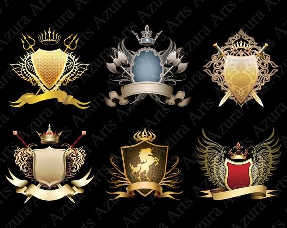 Gold Heraldry Medieval Frame Coat Of Arms Emblem Unicorn