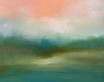 NEW ITEM -Minimalist Landscape - Oil Painting- Original 20 x 20 Stretched Canvas- 3/4 inch sides- Ready to Hang or Frame