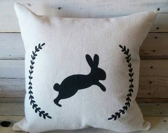 Bunny Pillow, Spring Pillow, Easter Pillow, Pillow Cover, Throw Pillow, Farmhouse Pillow, Shabby Chic Pillow
