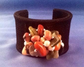 "Chunky Bold Multigemstone Stainless Steel 7"" Black Crochet Cuff Bracelet Women Teens Tweens Gift Boho Chic Organic Cool Neutrals"